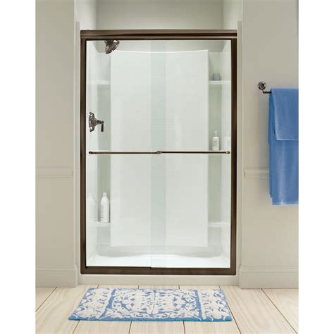 Bronze Shower Doors Frameless Sterling Finesse 47 5 8 In X 70 1 16 In Semi Frameless