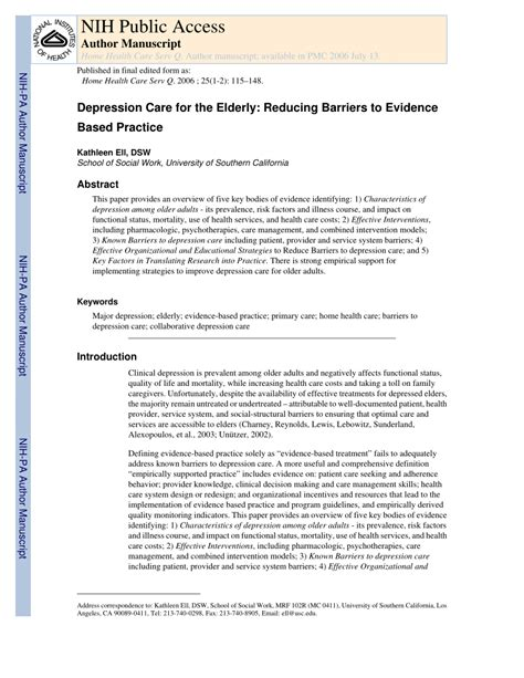 Research Paper On Depression In The Elderly by Depression Care For The Elderly Reducing Barriers To Evidence Based Practice Pdf