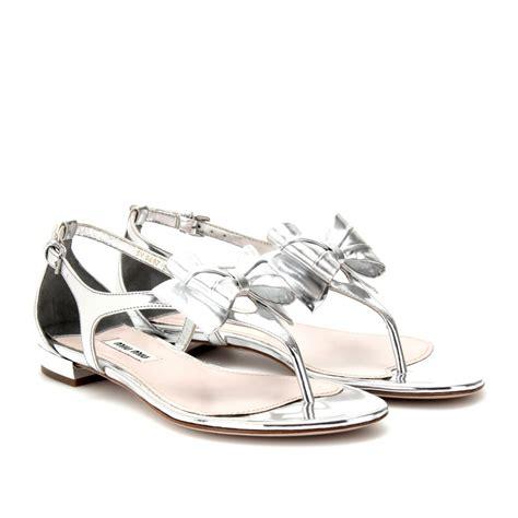 metallic gold sandals lyst miu miu metallic leather sandals in metallic