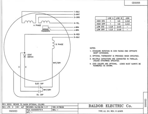 baldor motor wiring diagram single phase circuit and