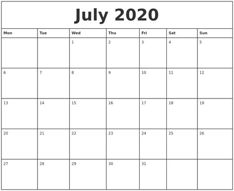 printable monthly calendar starting monday july 2020 printable monthly calendar