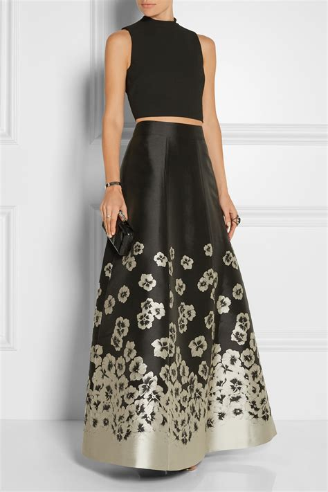 suri jacquard maxi skirt black in black