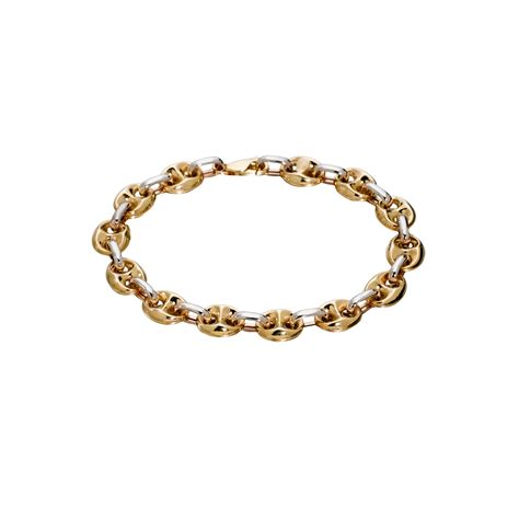 Gucci G068 Combi Gold White stato gucci link bracelet 10k white and yellow gold jewelry bracelets