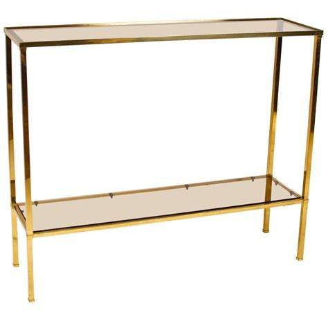 smoked glass table l brass console table with smoked glass at 1stdibs