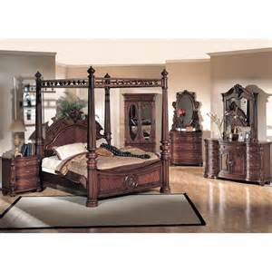 King Size Canopy Bedroom Sets Yuan Corina 4pc King Size Canopy Poster Bedroom Set In Cherry Finish For 5 976 00 In