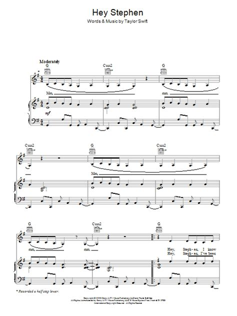 taylor swift chords getaway car hey stephen sheet music direct