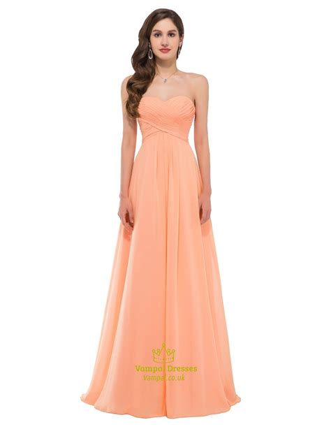 Sleeveless A Line Chiffon Dress a line orange sweetheart sleeveless ruched bodice chiffon