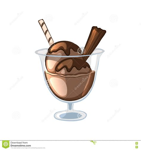 balls of chocolate ice cream in a glass bowl stock vector