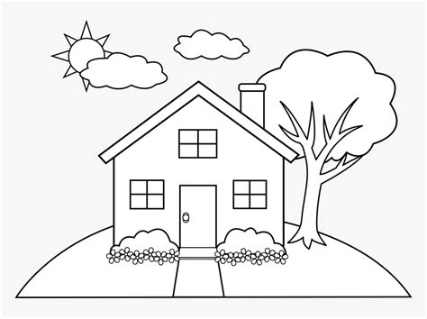 house  drawing clip art  house coloring page hd