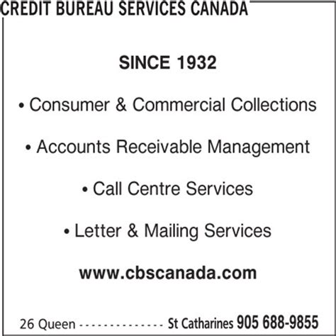 bureau service canada credit bureau services canada st catharines on 26