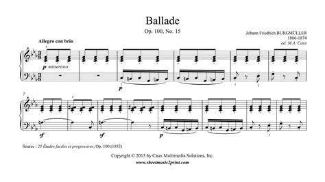 Buku Piano Burgmuller Op 100 burgm 252 ller ballade op 100 no 15