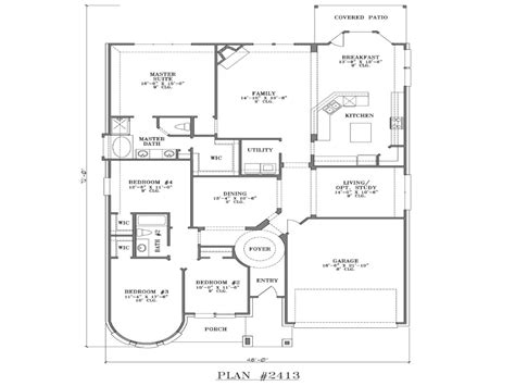 5 one story 4 bedroom house plans single story open floor