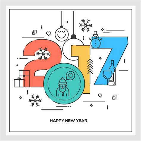 flat thin color line concept of happy new year 2017