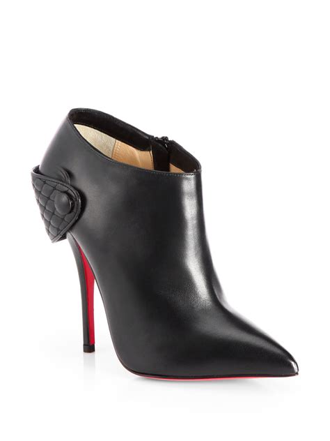 louboutin boots christian louboutin huguette leather moto ankle boots in