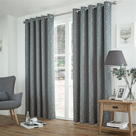 Teal And Grey Curtains Waves Jacquard Thermal Curtains Pair Ready Made Ring Top Eyelet Ebay