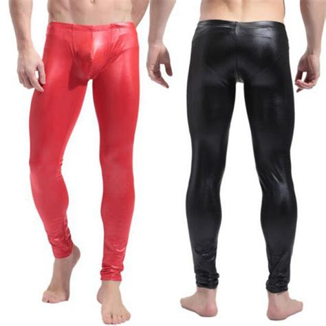 imagenes de latex leggings fashion mens black red faux patent leather skinny pencil