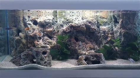 3d fish tank background how to install 3d aquarium background limestone modules