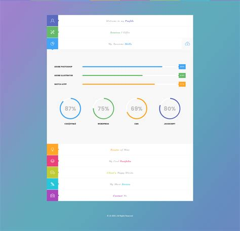 skills portfolio template js creative vcard resume portfolio psd template by