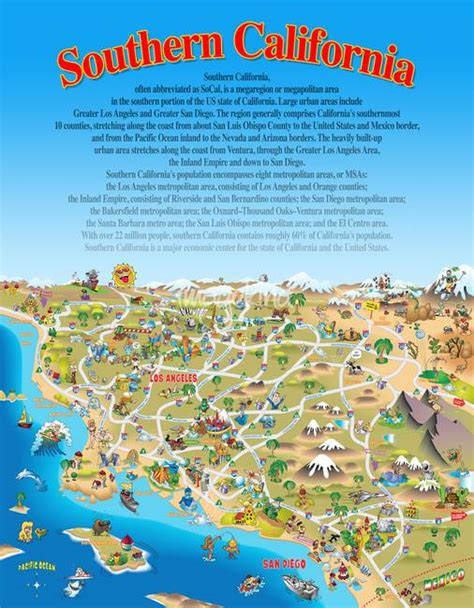 southern california cing map southern california attractions map california map