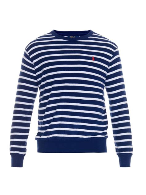 Polo Longsleeves Shirt lyst polo ralph striped terry towelling sleeved t shirt in blue for