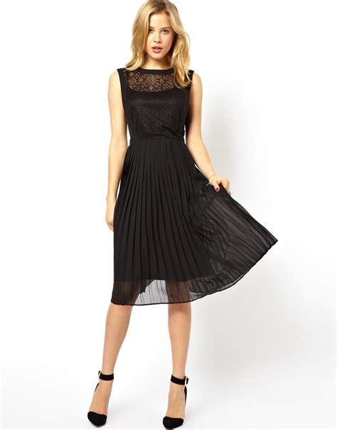 black lace pleated skirt midi dress all the dresses