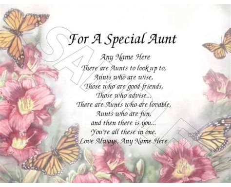 Happy Birthday Quotes For Aunts For A Special Aunt Personalized Print Poem Memory Birthday