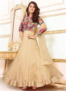 girlish cream net designer gown