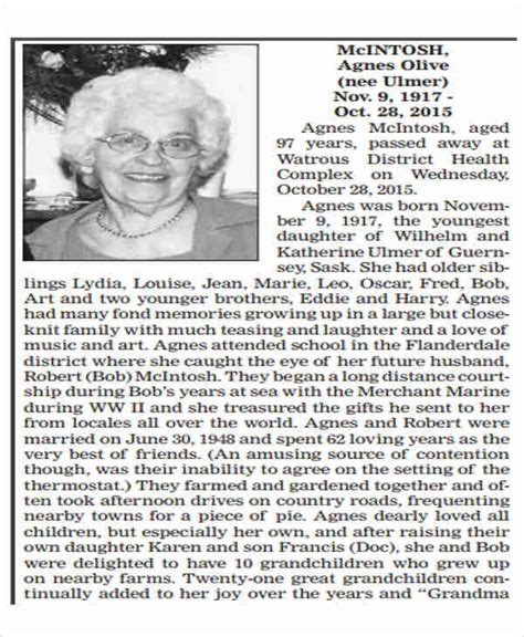Obituaries Exles Templates by Newspaper Obituaries Template 28 Images Newspaper