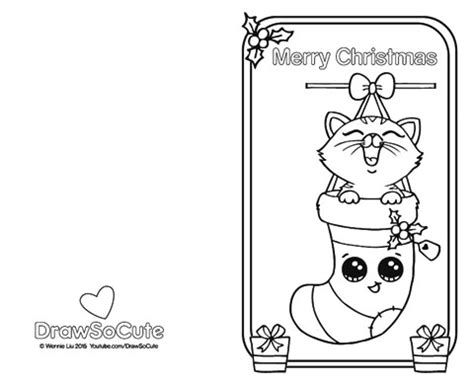 free coloring pages for christmas cards christmas kitten christmas card draw so cute