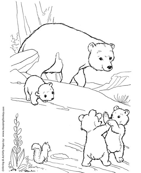wild animal coloring pages playful bear cubs coloring