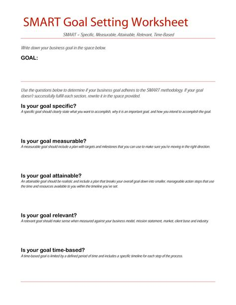 smart goal setting worksheet worksheets for school