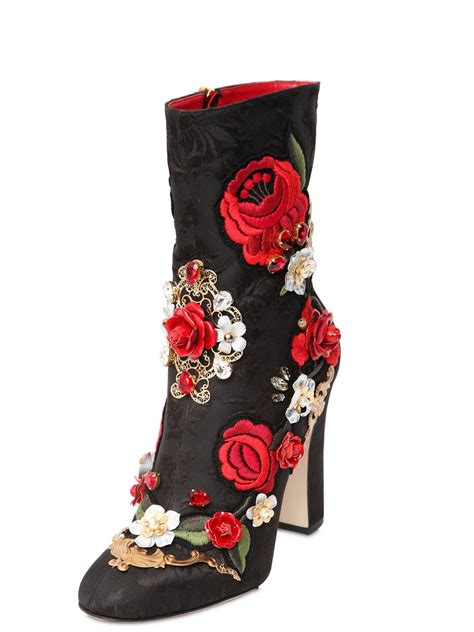 dolce and gabbana boots dolce gabbana 105mm embroidered brocade boots in black
