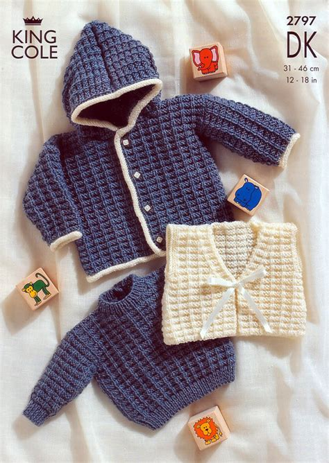king cole free knitting patterns sweater jacket and gilet in king cole big value baby dk