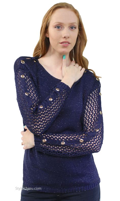 Sweater Mis Mis Navy careen sleeve weave cable knit sweater in navy