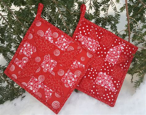 Patchwork Potholder Pattern - quilted patchwork potholder pair maine quilt company