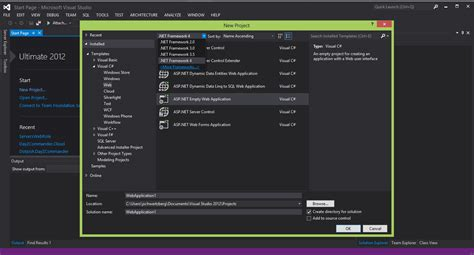 templates asp net visual studio 2012 vs2012 rtm missing net 4 5 and mvc project templates