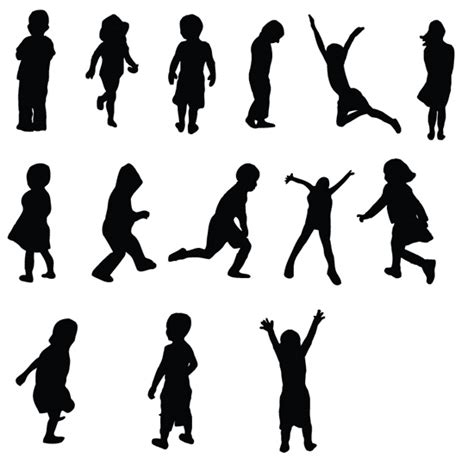 free kids silhouettes vectors and brushes vandelay