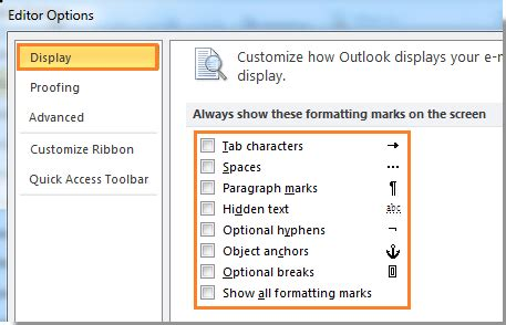 how to turn off or show hide formatting marks or