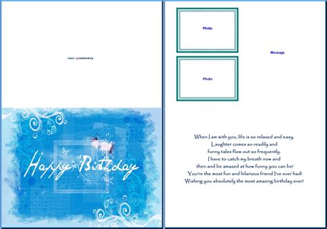 template for birthday card with photo birthday card template cyberuse