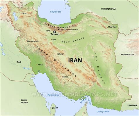 geographical map of iran where is the plateau of iran located on a world map