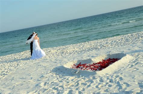 Red Rose Petal Filled Heart in the Sand Pensacola Beach