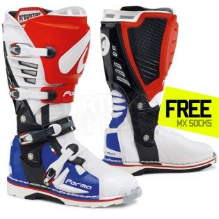 white motocross boots forma predator boot blue white dirtbikexpress