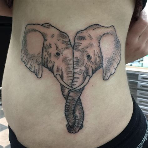 elephant couple tattoo medium size stippling style elephant on side
