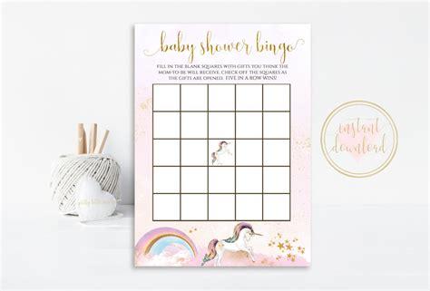 printable unicorn bingo unicorn baby shower bingo unicorn baby shower unicorn