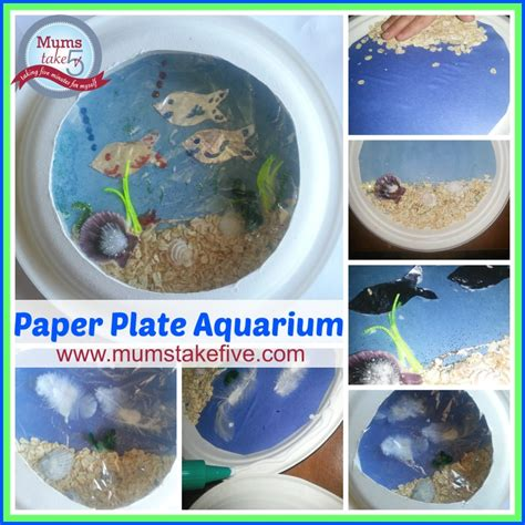 How To Make A Paper Aquarium - water theme craft paper plate aquarium