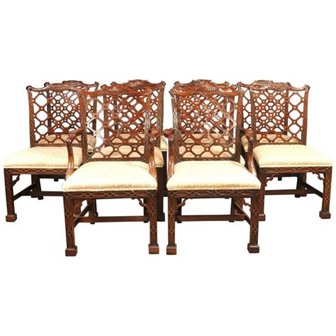 ten mahogany chippendale style dining chairs
