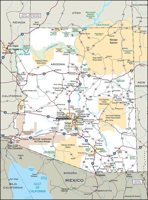 us map with cities arizona large detailed roads and highways map of arizona state
