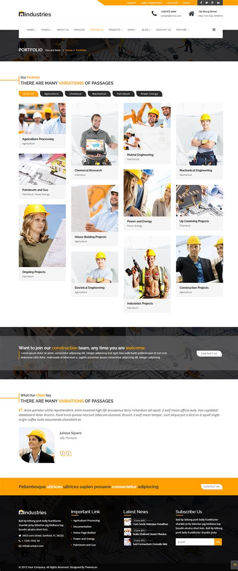 Industries Industrial Construction Business Html Template By Themographyy Construction Portfolio Template