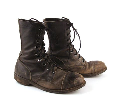 combat boots reserved combat boots distressed vintage 1980s black leather