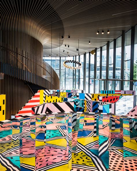 painting play now walala x play camille walala installs colorful maze in